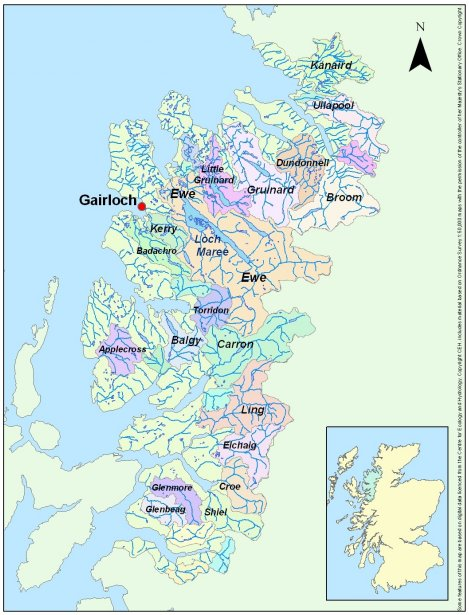Map of the WRFT area showing principle river catchments
