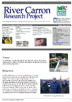 River Carron Restoration Research Project Newsletter February 2013