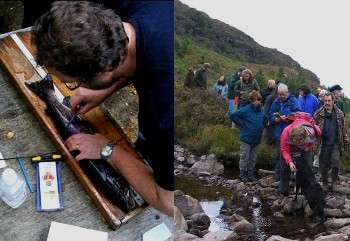(left) Jim measures the grilse; (right) 'Reforesting Scotland' participants in Kinloch Woodland
