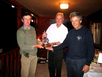 Peter receives the RAFTS challenge trophy from His Grace the Duke of Roxburghe (?Tweed Foundation)