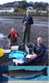 Ben Rushbrooke, Will Parry & Garry Bulmer on 11th April 2012; and the recaptured trout (see text).